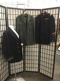 Lot of 3 vintage military uniform jackets and a pair of slacks. Marine, navy, and army see pics