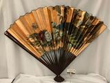 Large vintage painted Asian fan with peacock design - made in China