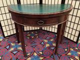 Antique flip top mahogany poker table w/ green felt full top green leather half top circa 1940s-50s