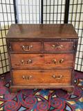 Stunning antique oak secretary desk with original brass hardware and rare early American design