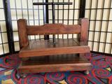 Antique wooden block presses with dark oak finish