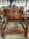 Victorian mahogany bedframe w/ intricate carved detail & four pillar design - needs new hardware as