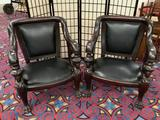 2 matching antique French (early 1900s) hand carved empire chairs w/ mahogany frame & leather seats
