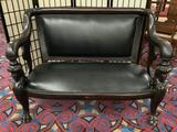 Antique French (early 1900s) hand carved empire sofa w/ mahogany frame & leather seat - matches