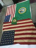 4 flags - 2 WA state flags small and large (as is) & 2 vintage American flags with 48 stars