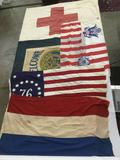 Lot of 5 vintage flags incl. medic, coast guard, American Legion, French & Bicentennial