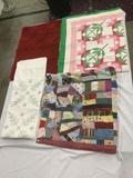 Selection of 4 vintage handmade quilts in various sizes and patterns - see pics