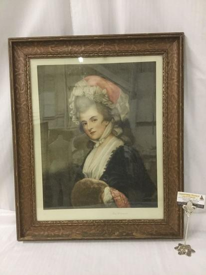 Antique framed portrait print - Mrs. Robinson by George Romney - circa 1912