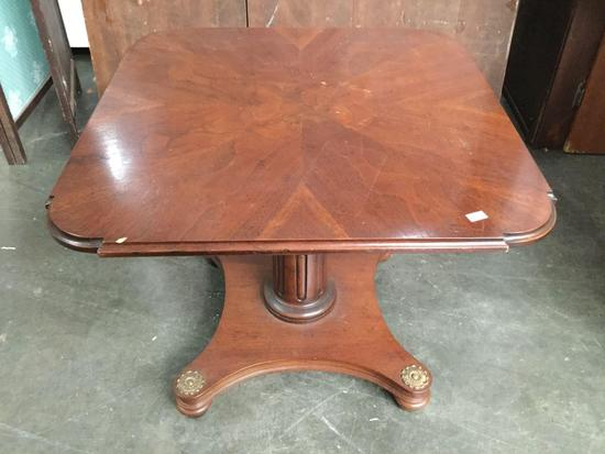 Vintage square inlay-ed top dining table with deco design and pedestal base