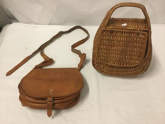 2 vintage European purses - 1960s German leather purse and Polish leather purse 1978