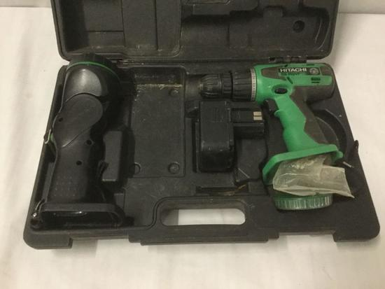 Hitachi DS 14DVF Cordless Drill and Flashlight, with Battery but no Charger. In case,