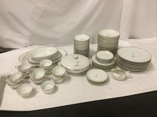 Large Lot of Gold Trim China two brands: Lily China and H and Co Bavaria.