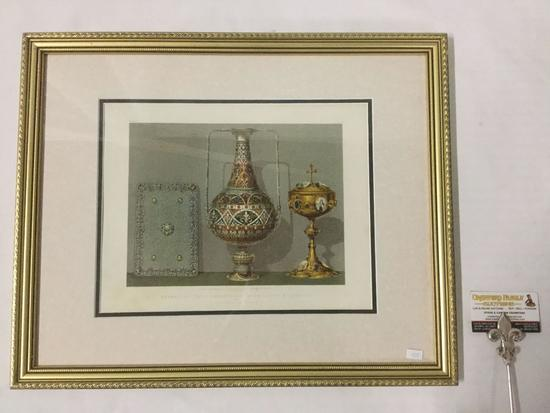 Vintage still life print in frame - Enameled Vase Damascened Book Cover & Chalice by Rudolf of Paris