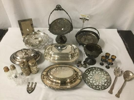 Collection of silverplate home decor - covered serving dishes, elevated dishes etc