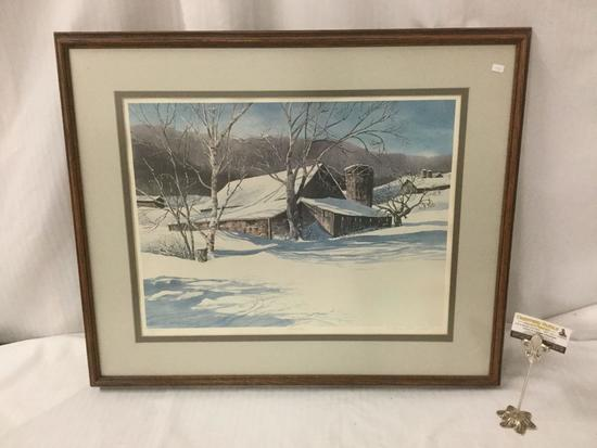 "Framed ltd ed print of a winter farm - ""Haybarn"" by N. Taylor Stonington 1976 #'d 232/250 & signed"