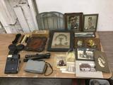 Lot of Vintage Home Decor: Vintage/Antique Photos, cameras, clock, windows, Art, etc. see pics