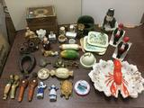 Lot of Assorted Porcelain Figures, Liquor Decanters, Candles, etc. see pics.