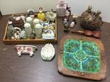 Assorted Porcelain Figures, Salt&Pepper Shakers, Stone Eggs, Etc. See pics