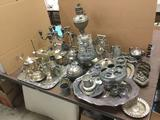 Huge Lot of Silverplate and Pewter Dishware, Candelabras, Lamp, and Serving Trays. See pics. Lamp is