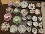 36 pieces of vintage China tea cups and saucers; Haviland - France, Ries - Japan, Royal Seely, May