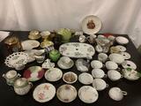 Large lot of misc. tea cups, cake stand, tea pots, Royal Seeley - Japan, Bavaria, Austria, France,