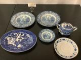6 pieces of vintage blue flow home decor, plates, sugar bowl, England - Liberty Blue, Japan, approx