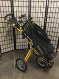 Ping Golf Bag with Palm Springs Clubs and Sun Mountain Push Cart. Cart is 44 inches