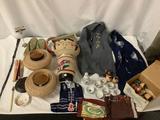 Asian collectibles/home decor lot; 3x vintage Chinese paper lanterns, sake set etc