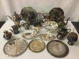 22 pc of silverplate home decor - plates, teapots, bowl, creamer and more - see pics