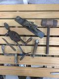 Lot 6 Vintage Hand Tools - Planer, Drill, Mallet + More