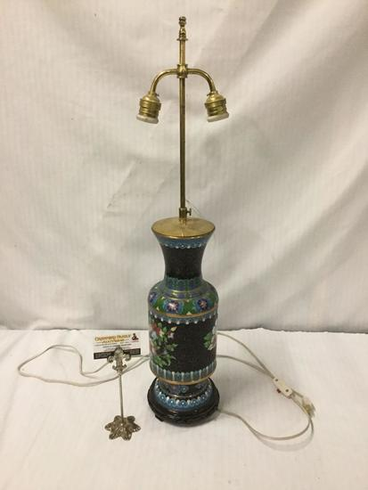 Vintage Cloisonne vasiform body/base table lamp with floral design