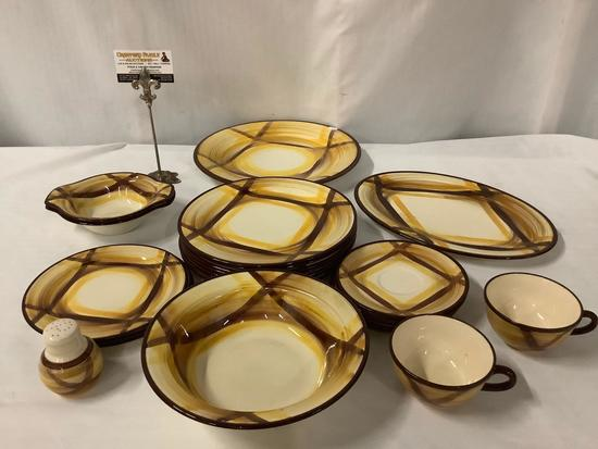 Collection of 23 pieces of Organdie...Vernonware hand painted dishes, cups & 1 shaker