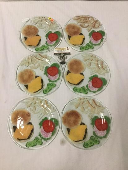 6 Andre Duree fused art glass hamburger design plates (1995)
