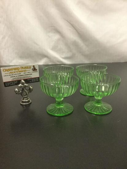 4pc set of vintage Vaseline glass footed sherbet glasses