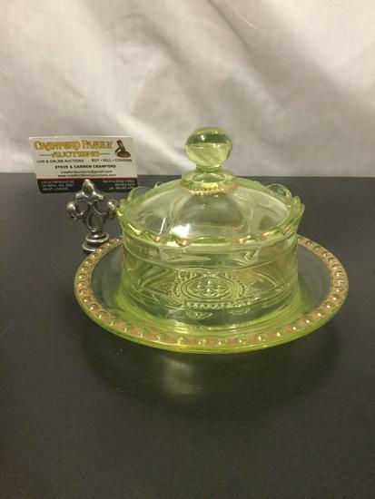1899 Ranson yellow Vaseline glass butter dish