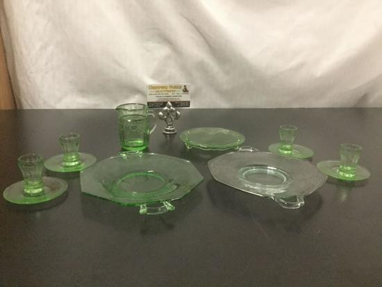 12 pc of vintage green depression glass - etched plate, pattern plate, childs pitcher etc