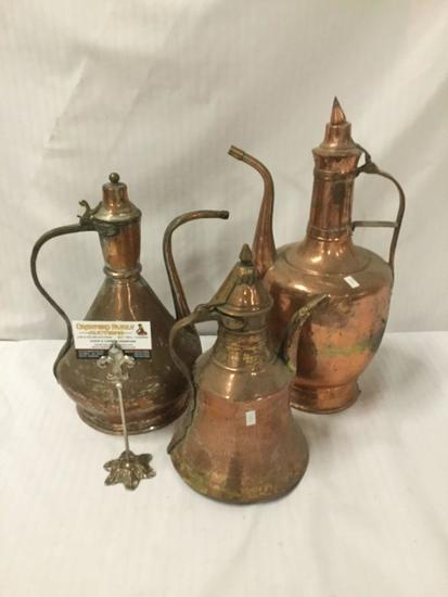Collection of 3 antique hammered single handled copper ewers