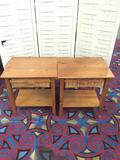 Pair of vintage end table or nightstands with wicker basket drawers