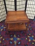 Vintage Lane mid Century end table, has damage on the bottom shelf