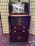 Powell Furniture Upright jewelry cabinet w/ side doors, 5 drawers & lower cabinet missing a pull
