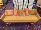 Mid Century Gaines MFG. (McKenzie, Tennessee) wood frame couch w/ off-yellow upholstery