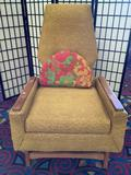 Vintage wood frame mid century arm chair with original upholstery