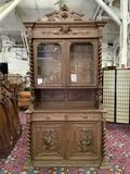 Antique hutch display cabinet w/ ornate carvings