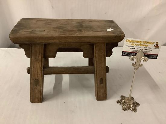 Antique carved wood small bench / foot rest - doweled design