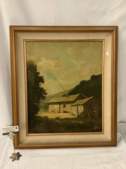 Framed original landscape and barns oil painting signed by artist by Jorge Braun Tarallo
