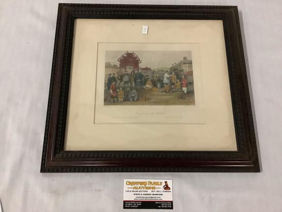 "Antique framed tinted steel engraving - ""Punishment of the Bastinado"" after Thomas Allom (1804-1872)"