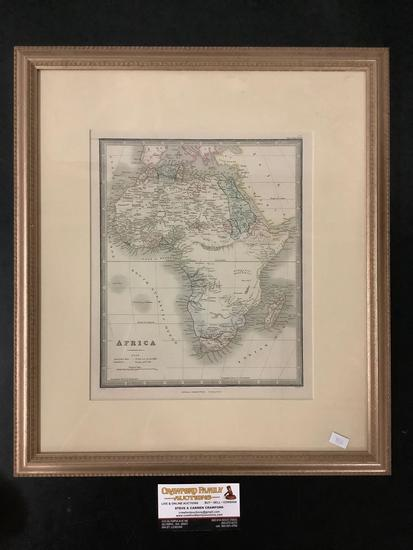 Framed engraved and tinted map of Africa by James Wyld (Charing Cross, London)