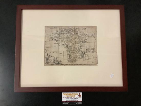 Framed vintage engraved map of the African continent