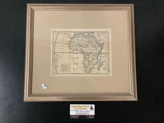 Antique framed map of the African continent, title: Africa According to the Latest Observations