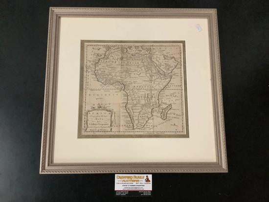Antique framed engraved map of Africa from 1748 vol of Gentleman's Magazine by T. Jeffreys